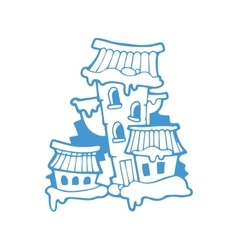 Hand drawn christmas or winter house vector