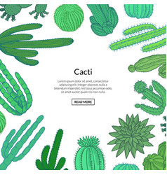 hand drawn wild cacti vector image