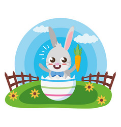 happy easter cute rabbit vector image
