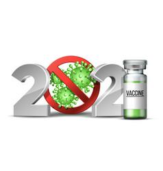 Happy new year 2021 number with coronavirus vector