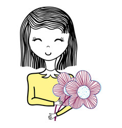 Happy woman with close eyes and flowers vector