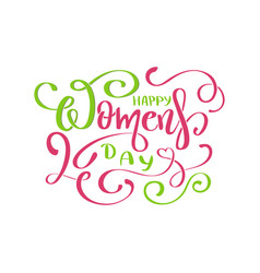 happy womans day text vector image