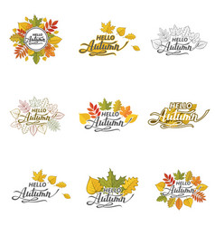 hello autumn pattern set vector image