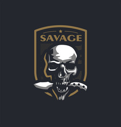 human skull with a military knife vector image