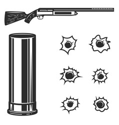 hunting rifle with bullets set bullet holes vector image