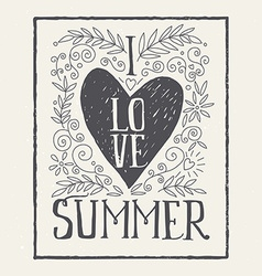 I love summer print t-shirt ink vector