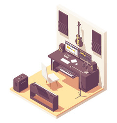 isometric home music recording studio vector image