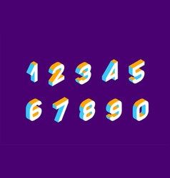 isometric olored numbers vector image