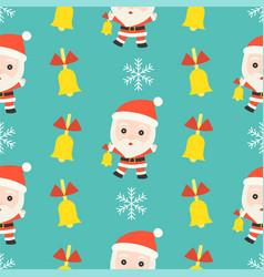 jingle bell santa christmas seamless pattern vector image