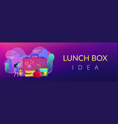 kids lunch box concept banner header vector image