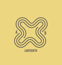 labyrinth line art design for invitation poster vector image