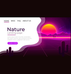 landing page screen nature landscape template vector image