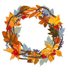 leaves autumn wreath vector image