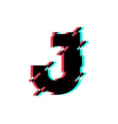 logo letter j glitch distortion diagonal vector image