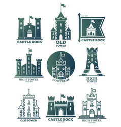 logo with castle and towers at flags coat of arms vector image