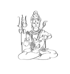 Lord Shiva black and white calligraphic drawing to vector image