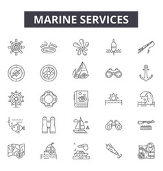 marine services line icons signs set vector image