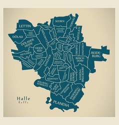 Modern city map - halle city of germany with vector
