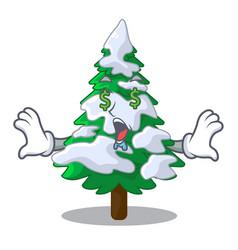 Money eye fir with snow christmas tree cartoon vector