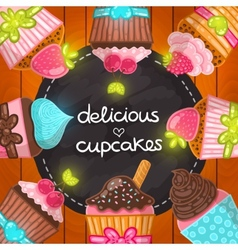 Muffin set Cupcake frame vector
