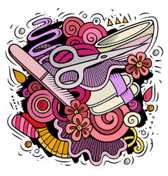 Nail salon hand drawn doodles vector
