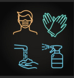 neon coronavirus prevention icon set in line style vector image