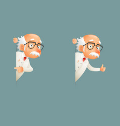 old wise scientist character look out corner icons vector image
