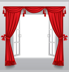 open white double window with classic red blinds vector image vector image