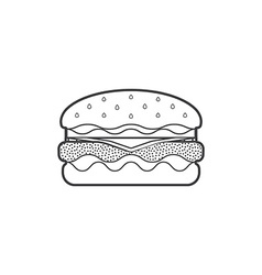 Outline fast food hamburger icon vector