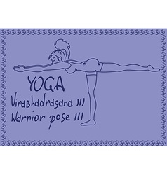Outline girl in Warrior three yoga pose vector