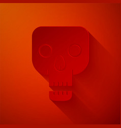 Paper cut skull icon isolated on red background vector