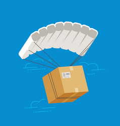 parachute with cardboard box delivery service vector image
