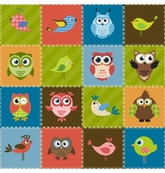 Patchwork background with birds and owls vector