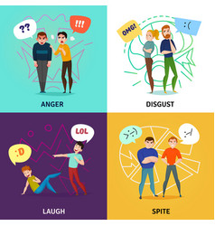 people and emotions concept icons set vector image