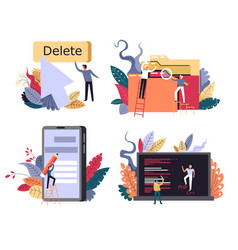 People searching for and working with documents vector