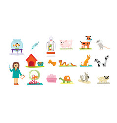 Professional vet doctor and domestic animals set vector