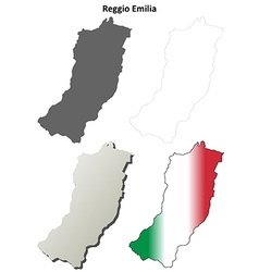 Reggio Emilia blank detailed outline map set vector image