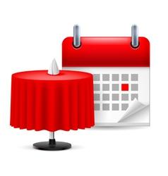Restaurant table and calendar vector image