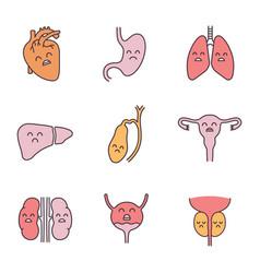 Sad human internal organs color icons set vector