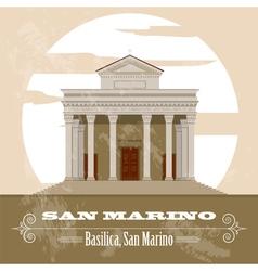 San Marino landmarks Retro styled image vector image