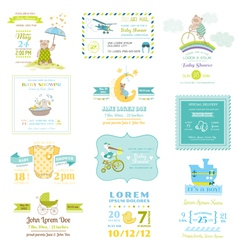set bashower and arrival cards vector image