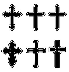 set christian religious crosses design vector image
