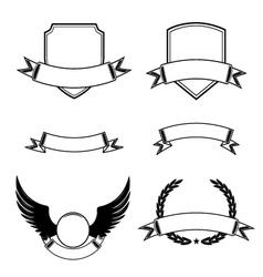 Set decorative frames with ribbon emblems vector