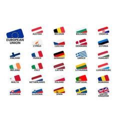 Set flags european union countries member vector