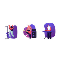 set male characters rock band musicians vector image