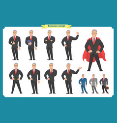 set of businessman presenting in various action vector image