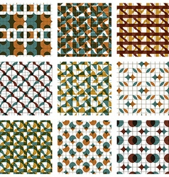 Set of colored grate seamless patterns with vector