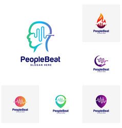 Set of community logo template designs concepts vector