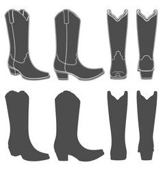 Set of with cowboy boots vector