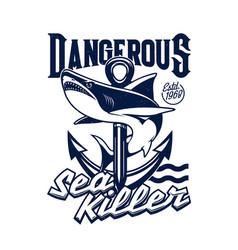 Shark and sea ship anchor t-shirt print mockup vector